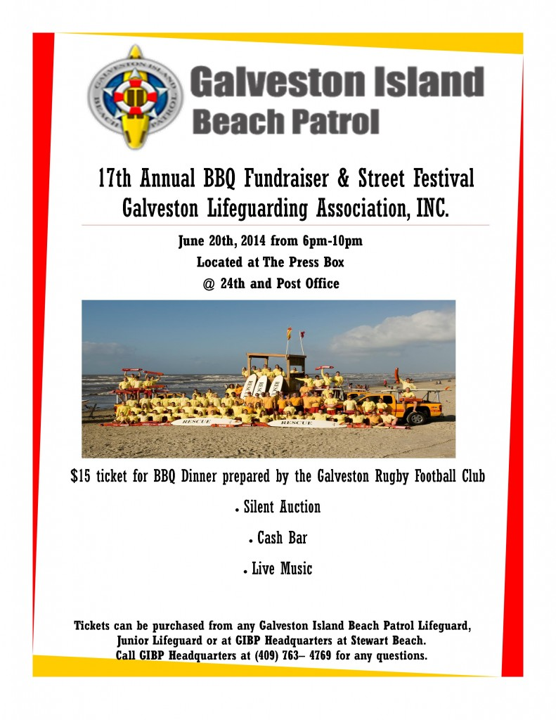 June 21, 2014 Galveston Beach Patrol Annual BBQ and Silent Auction Fundraiser BBQ being cooked and  catered by Galveston Rugby Football Club http://texasbeachsafety.org/galveston-lifeguarding-association/bbq/